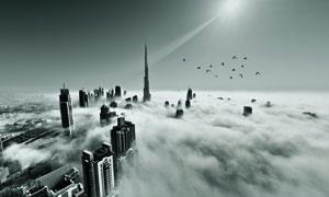 被云雾环绕的城市建筑摄影高清图片