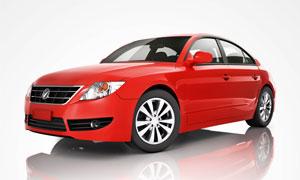 红色轿车侧视角度展示摄影高清图片