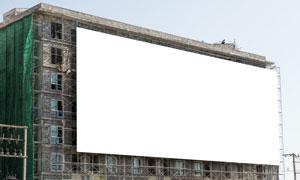 大楼侧立面上的空白广告牌高清图片