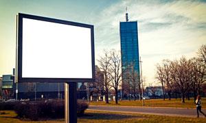 建筑物楼房与空白广告牌等高清图片