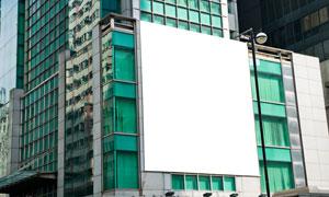 大楼外墙的空白广告牌设计高清图片