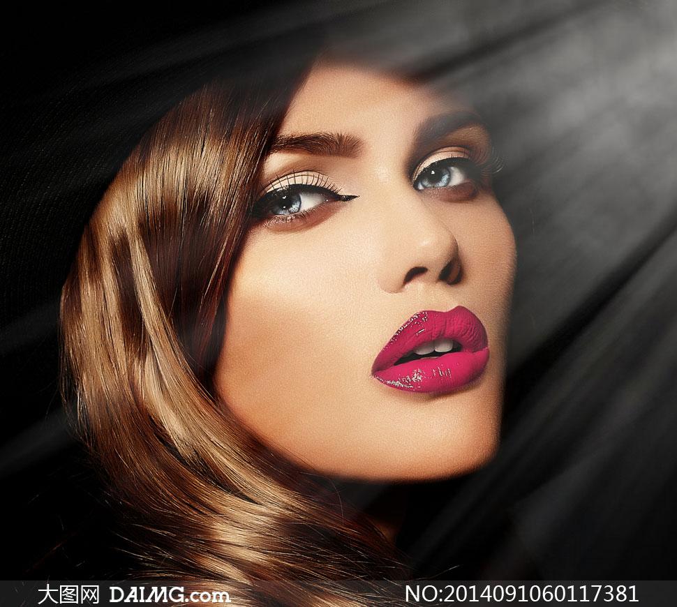 浓妆红唇美女人物特写摄影高清图片 大图网设