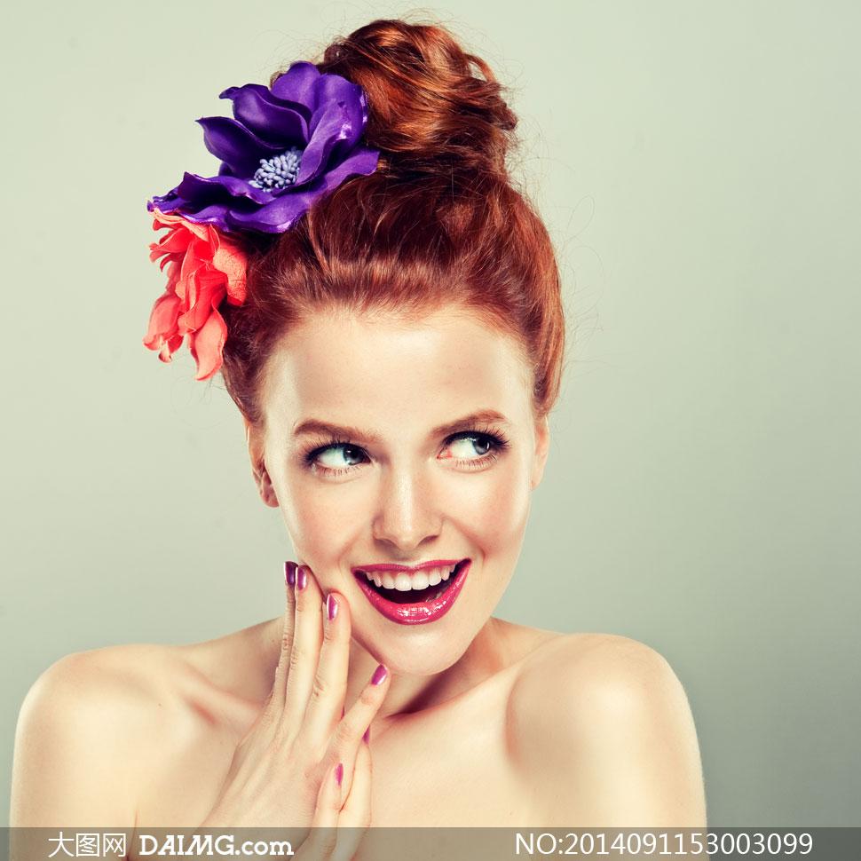 头戴着花饰的盘发美女摄影高清图片