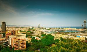 西班牙巴塞罗那建筑物鸟瞰高清图片