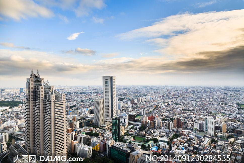高密度城市建筑物鸟瞰摄影高清图片