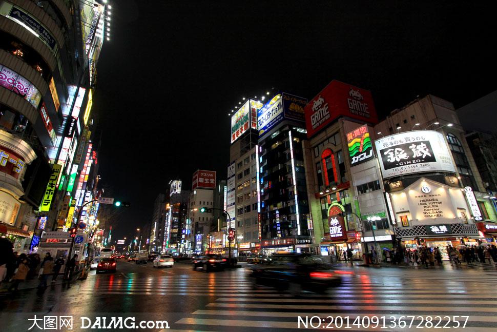 日本东京街头繁华夜景摄影高清图片