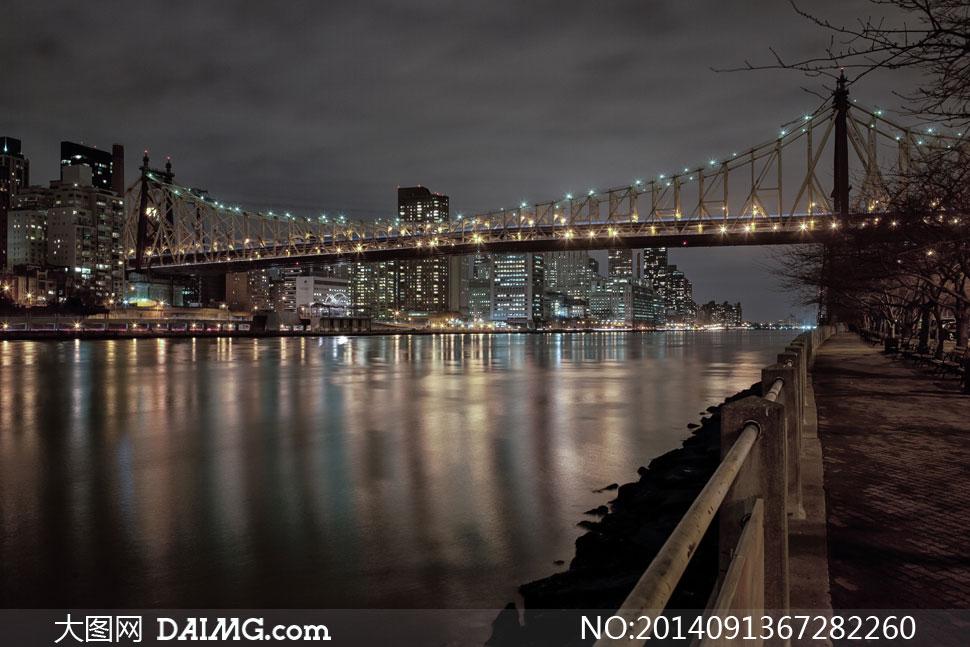 高楼大厦夜空夜晚夜景灯光水面江面大桥桥梁灯光栏杆