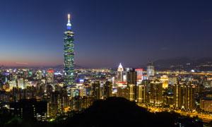 台北的一零一摩天大楼摄影高清图片