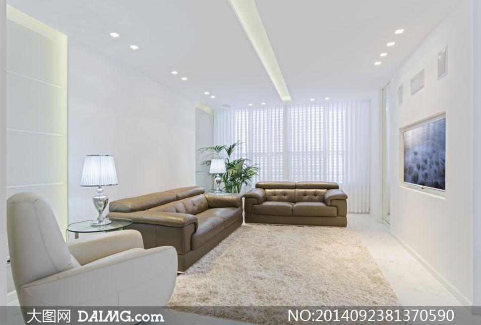 客厅沙发台灯地毯灯具摄影高清图片
