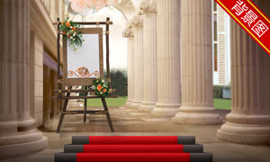 红地毯与画架长廊影楼摄影背景图片