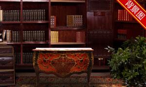 室内吊灯书架地毯影楼摄影背景图片