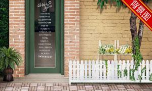 房门前的绿色树木影楼摄影背景图片