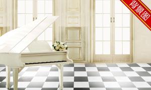 房间里的花束钢琴影楼摄影背景图片