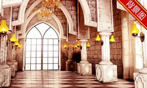 拱形走廊吊灯壁灯影楼摄影背景图片