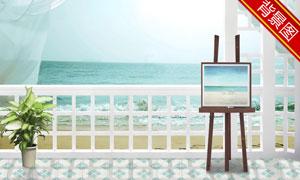 画架花瓶大海影楼摄影背景高清图片