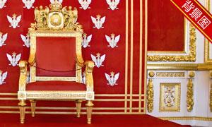 室内金色宝座影楼摄影背景高清图片