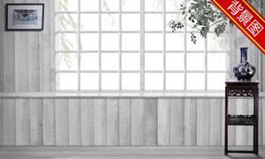 木板墙与室内装饰影楼摄影背景图片