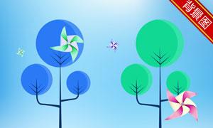 风车树木创意插画影楼摄影背景图片