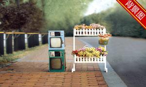 花架与电视机影楼摄影背景高清图片