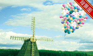 蓝天白云风车气球影楼摄影背景图片