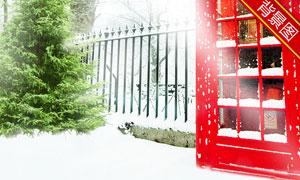 树木与红色电话亭影楼摄影背景图片