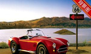 在湖边的跑车影楼摄影背景高清图片