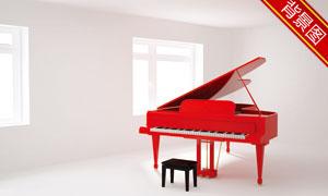 房间里的红色钢琴影楼摄影背景图片