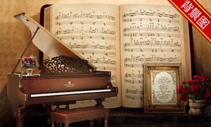 曲谱钢琴相框影楼摄影背景高清图片