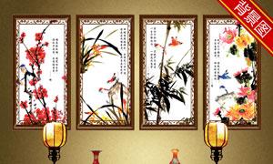 中式古典家具陈设影楼摄影背景图片