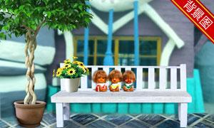 绿叶植物与花盆等影楼摄影背景图片