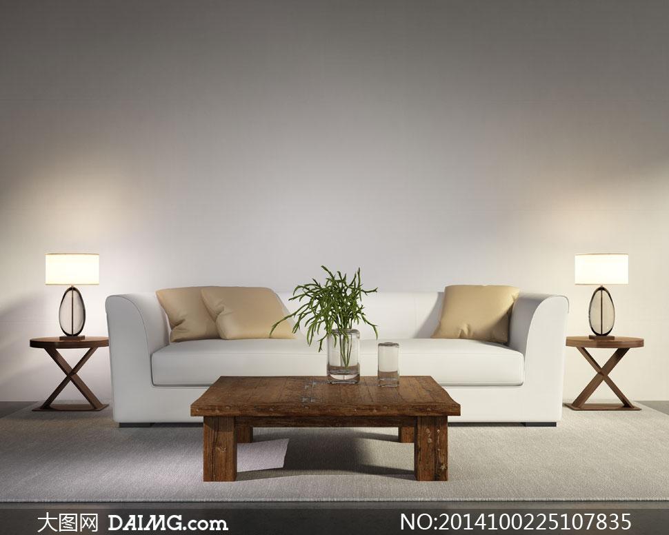 沙发枕头与中式茶几等摄影高清图片