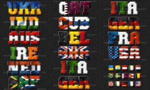 15款国旗图案组成的立体字PS样式
