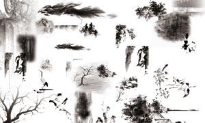 中国风水墨山等元素PSD分层素材