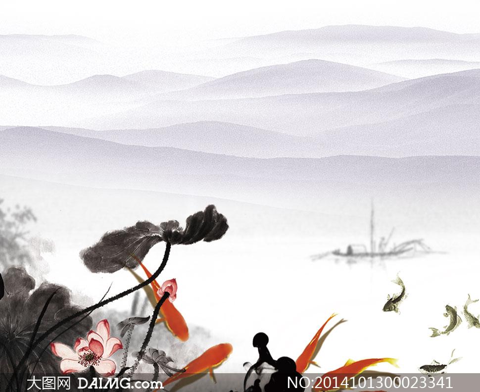 中国风古典水墨背景设计PSD素材图片