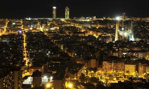 城市鳞次栉比建筑夜景摄影高清图片