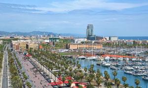 巴塞罗那港口道路景观摄影高清图片