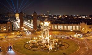 巴塞罗那的蒙锥克喷泉摄影高清图片
