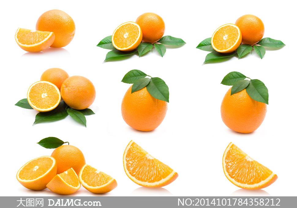 高清摄影大图图片素材近景特写生活百科水果果实切开橙子橙色绿叶