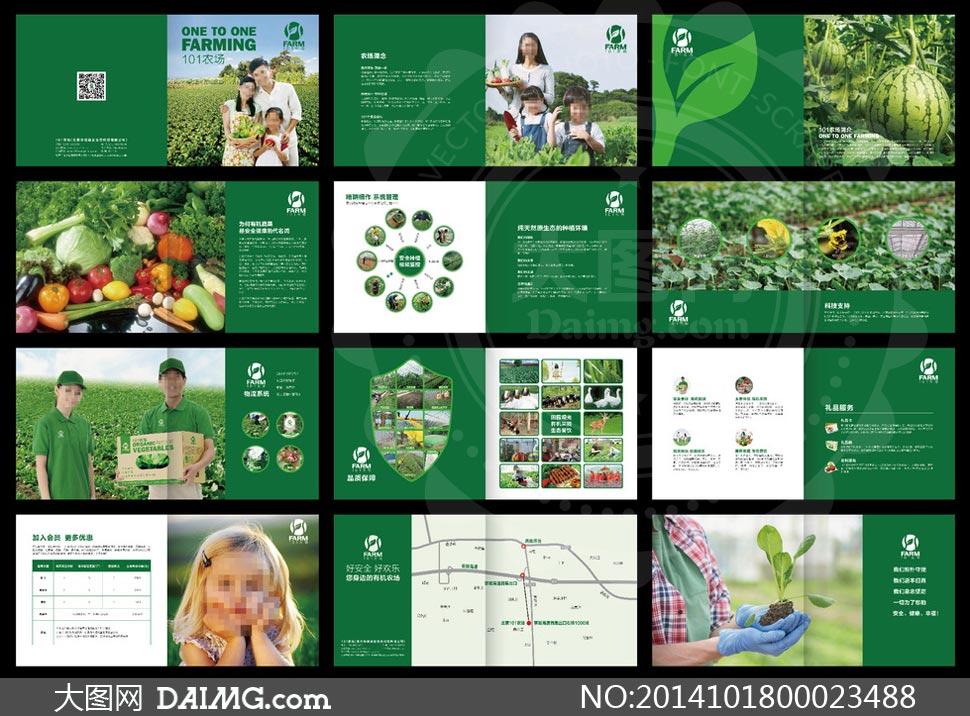 绿色农场宣传册设计模板矢量素材