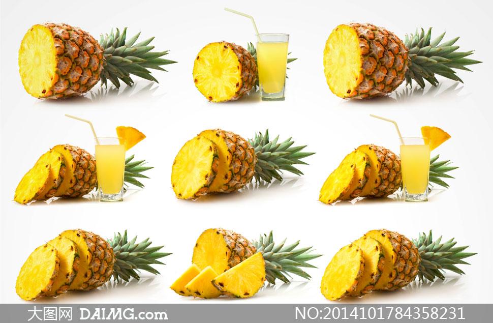 切开的新鲜菠萝与果汁摄影高清图片 - 大图网设计素材