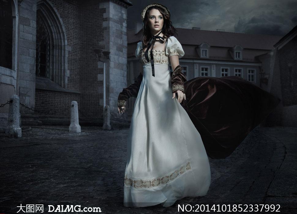 素材美女女人女性模特长裙裙子披风欧洲欧式复古怀旧