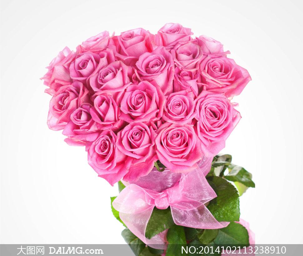 关键词: 高清摄影大图图片素材鲜花花朵花卉近景特写花束玫瑰花粉红