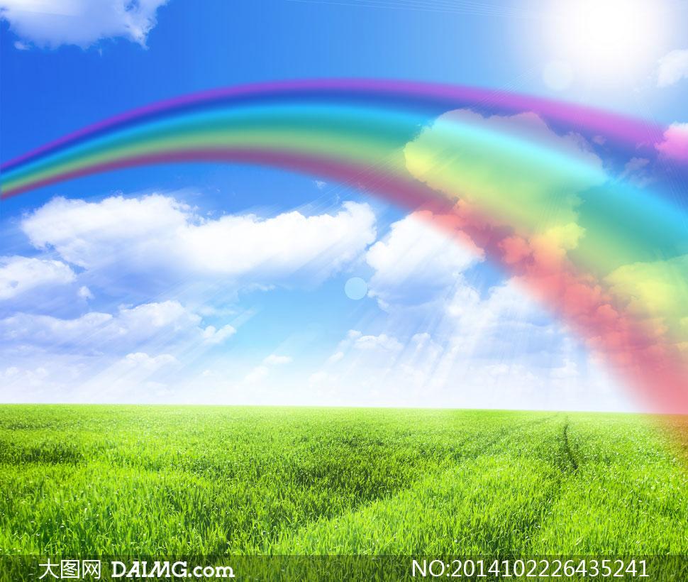 蓝天白云彩虹自然风景摄影高清图片