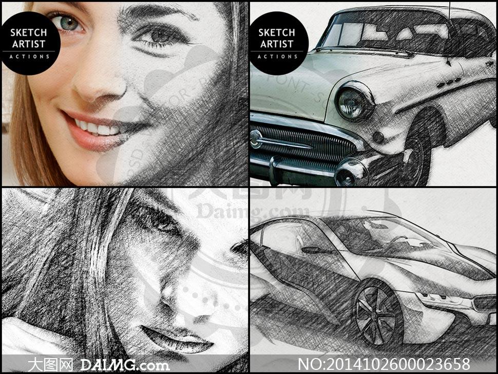 数码照片转铅笔画素描效果动作