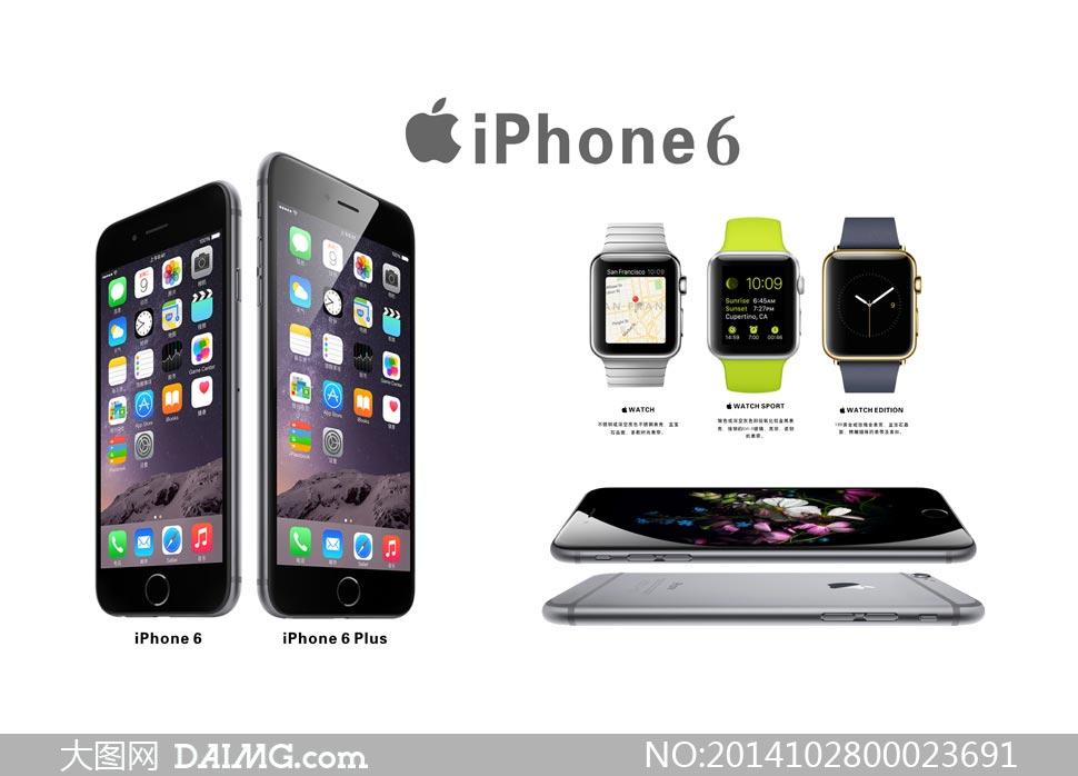 苹果iPhone6手机和手表海报矢量素材 - 大图网