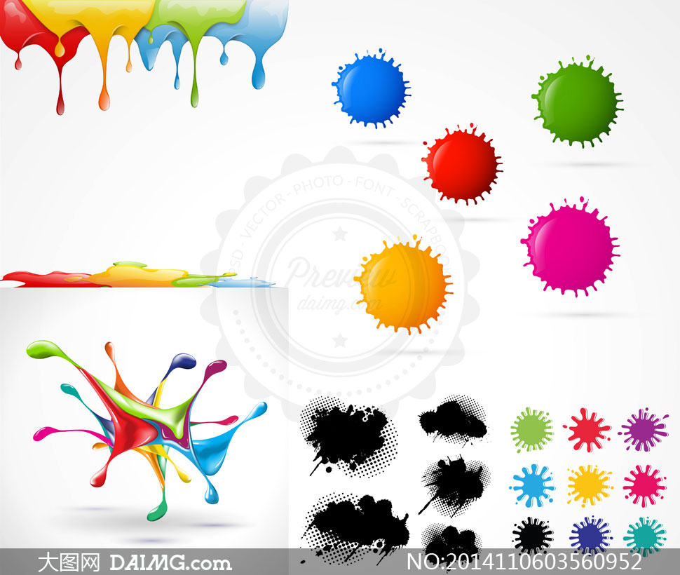 黑白墨迹与多彩颜料喷溅等矢量素材