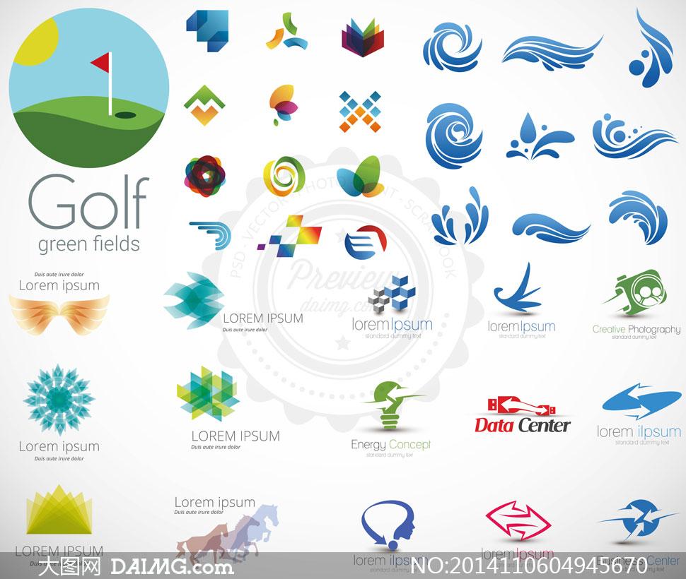 水花元素等等标志创意设计矢量素材图片