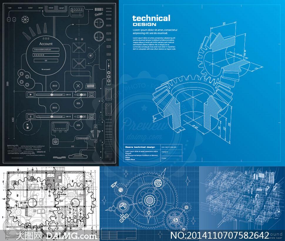 机械制造行业蓝图设计主题矢量素材