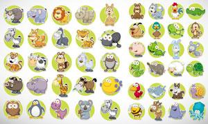 多款可爱卡通风格动物设计矢量素材