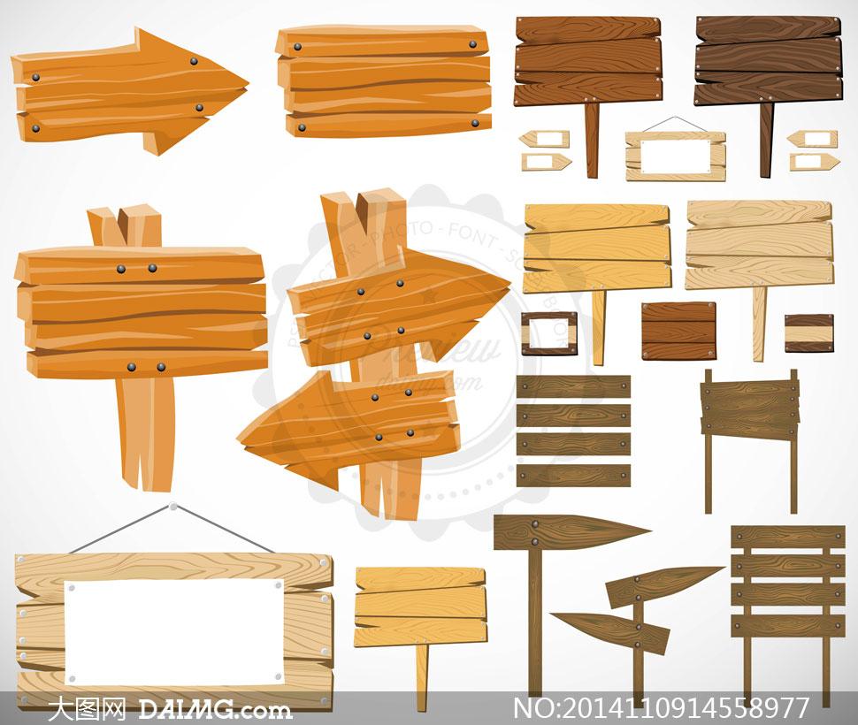 木纹指示牌与木板主题设计矢量素材